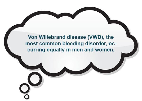 Von Willebrand disease (VWD), the most common bleeding disorder, occurring equally in men and women.
